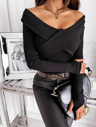 Кофта женская трикотажная с открытыми плечами с широкими полотнами на груди есть 3-ти варианта цвета, фото 2