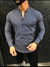 Мужская рубашка воротник стойка темно-синяя с принтом Турция О Д