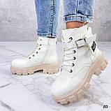Женские ботинки ДЕМИ бежевые/ молочные эко кожа весна/ осень, фото 9