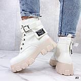 Женские ботинки ДЕМИ бежевые/ молочные эко кожа весна/ осень, фото 4