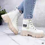 Женские ботинки ДЕМИ бежевые/ молочные эко кожа весна/ осень, фото 8