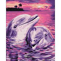 Картина раскраска по номерам на холсте - 40*50см BrushMe GX7660 Пара дельфинов