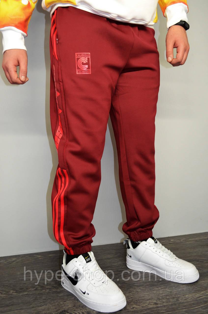 Мужские спортивные штаны Adidas Calabasas с лампасами бордовые не утепленные