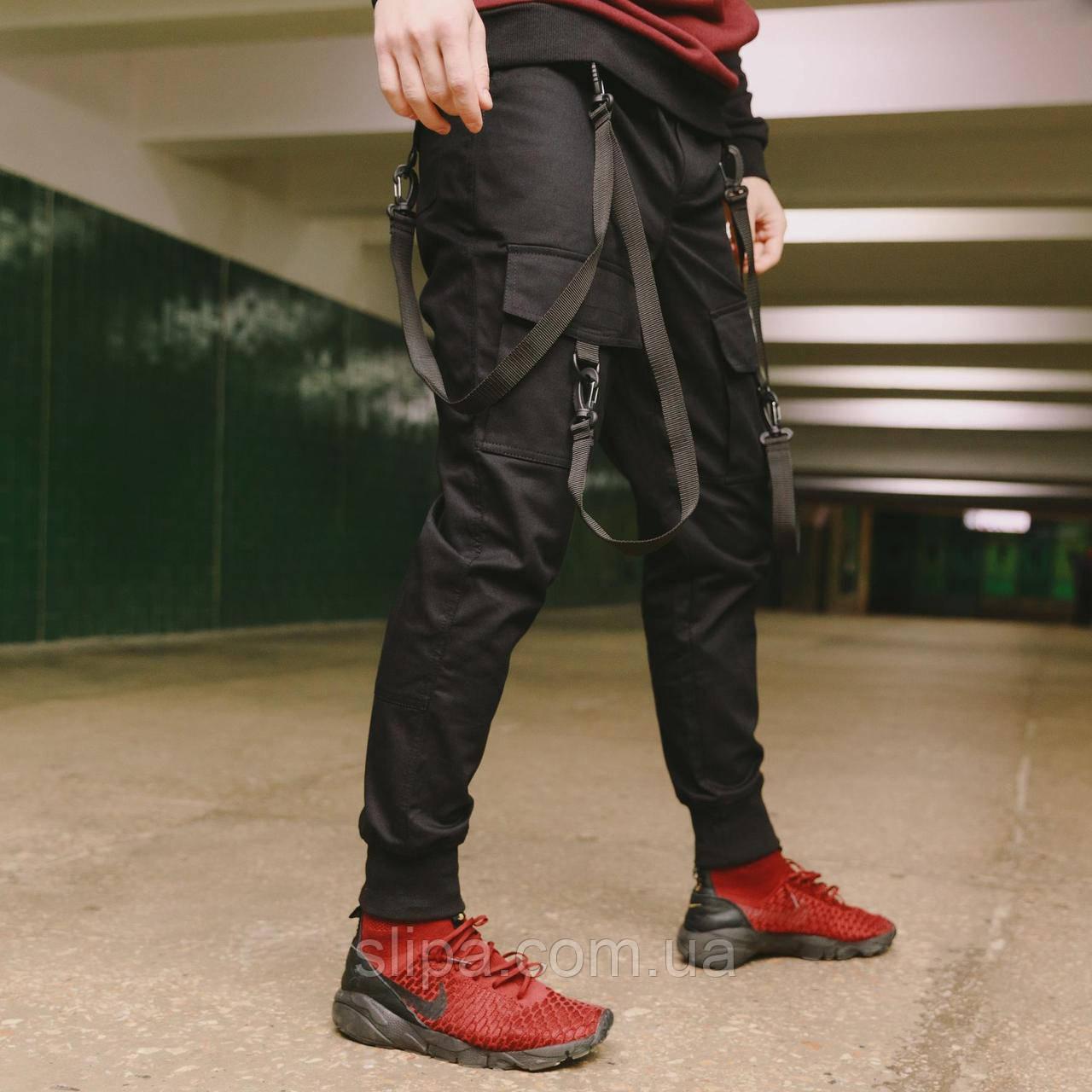 Мужские штаны карого с ремнями чёрные