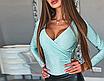 Жіночий блискучий боді з довгим рукавом SUSANN grey, фото 6