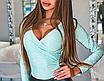 Жіночий блискучий боді з довгим рукавом SUSANN grey, фото 7