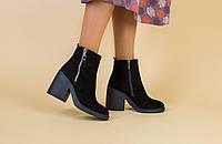 Демисезонные женские ботинки, замшевые, черные, на байке, с замочками