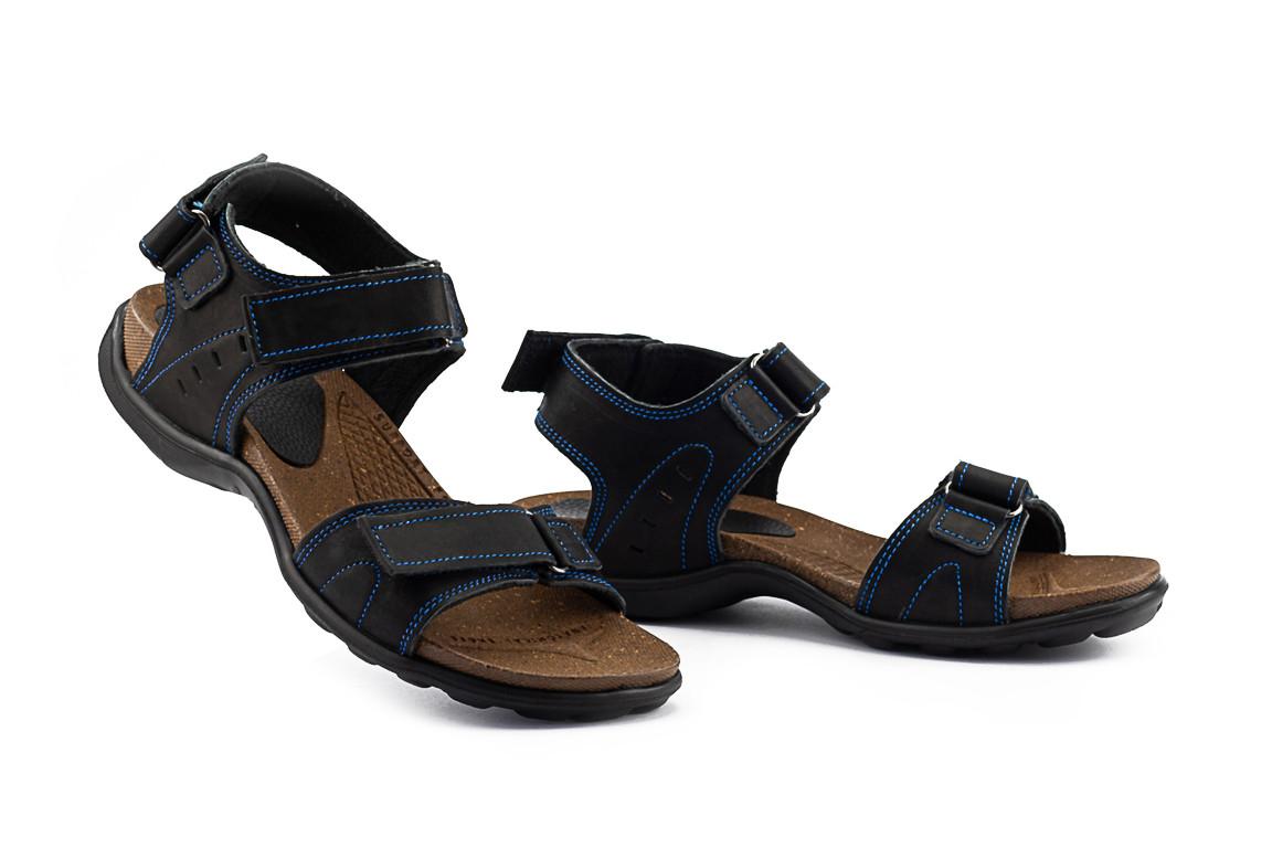 Мужские сандали нубуковые летние синие Monster Tracking П-син