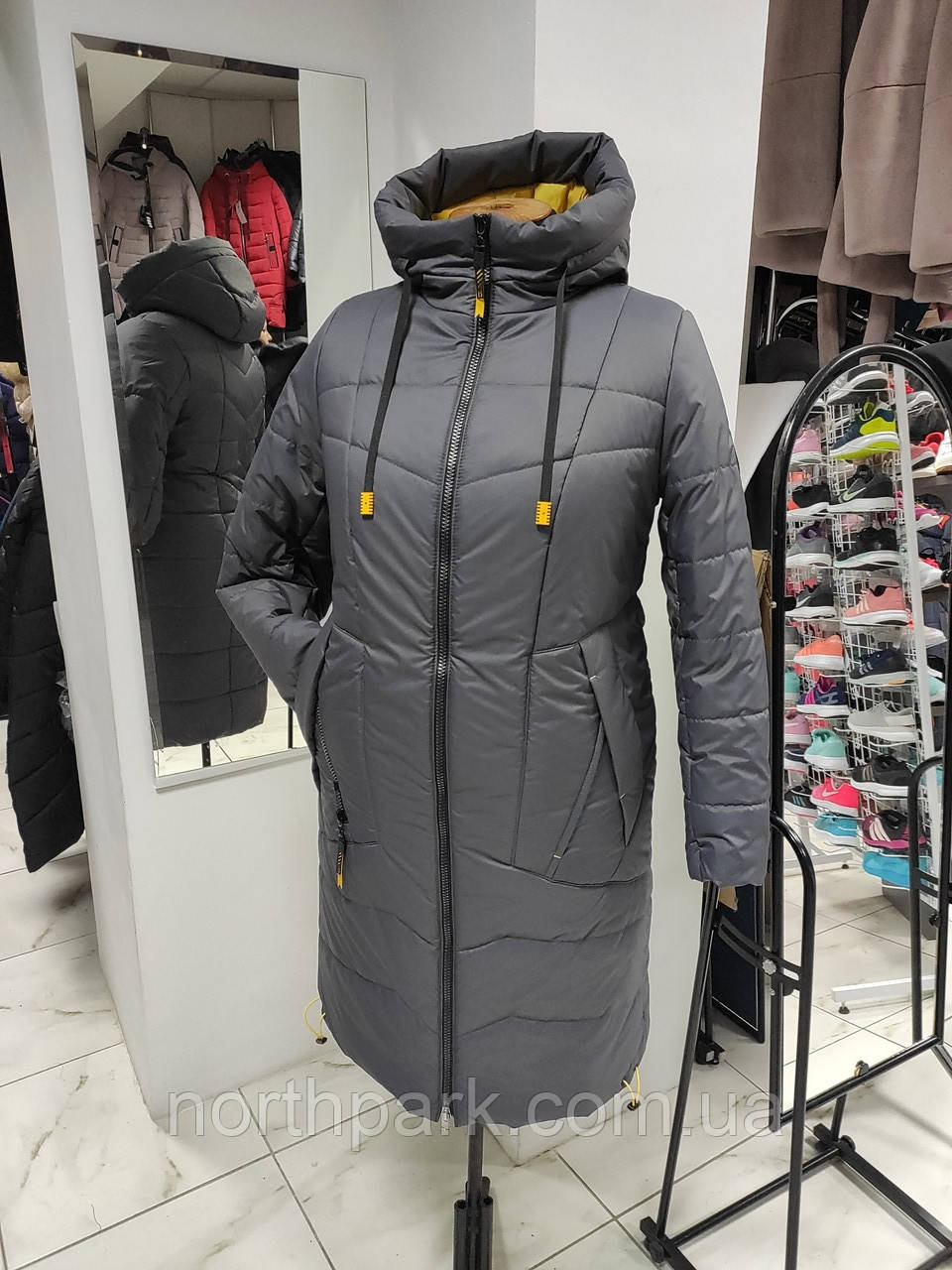 "Зимове довге пальто ""Marta"", сіре"