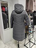 """Зимове довге пальто """"Marta"""", сіре, фото 3"""