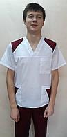 Костюм хирурга мужской  с отделкой рубашечная ткань