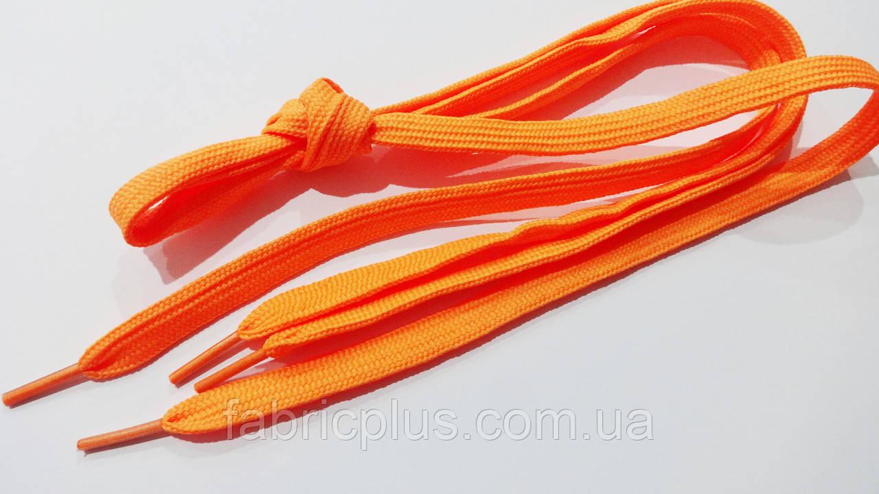Шнурки в кросівки плоскі 100 см помаранчеві (10 мм)