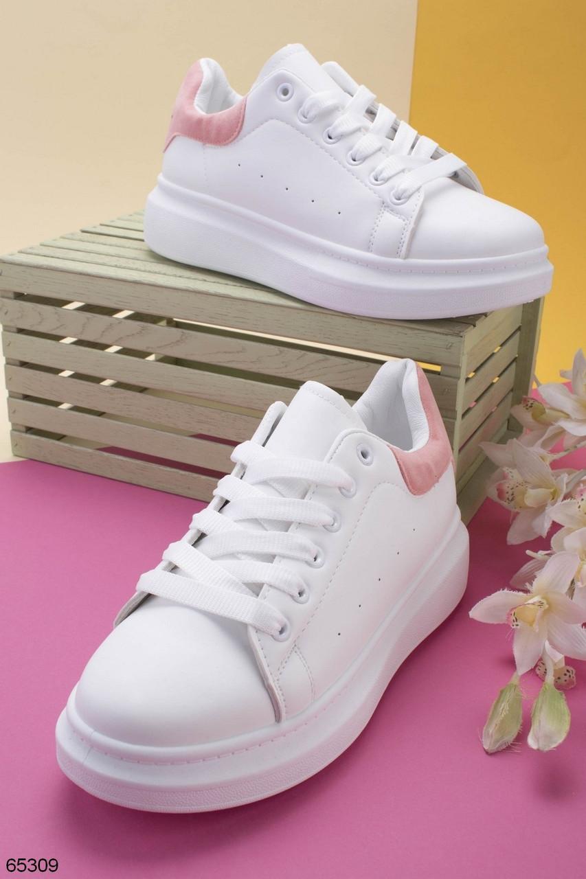 Стильные женские кроссовки белые с розовым эко-кожа весна / осень