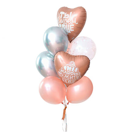 Нежная связка из гелиевых шаров и шаров сердечек для любимой, фото 2