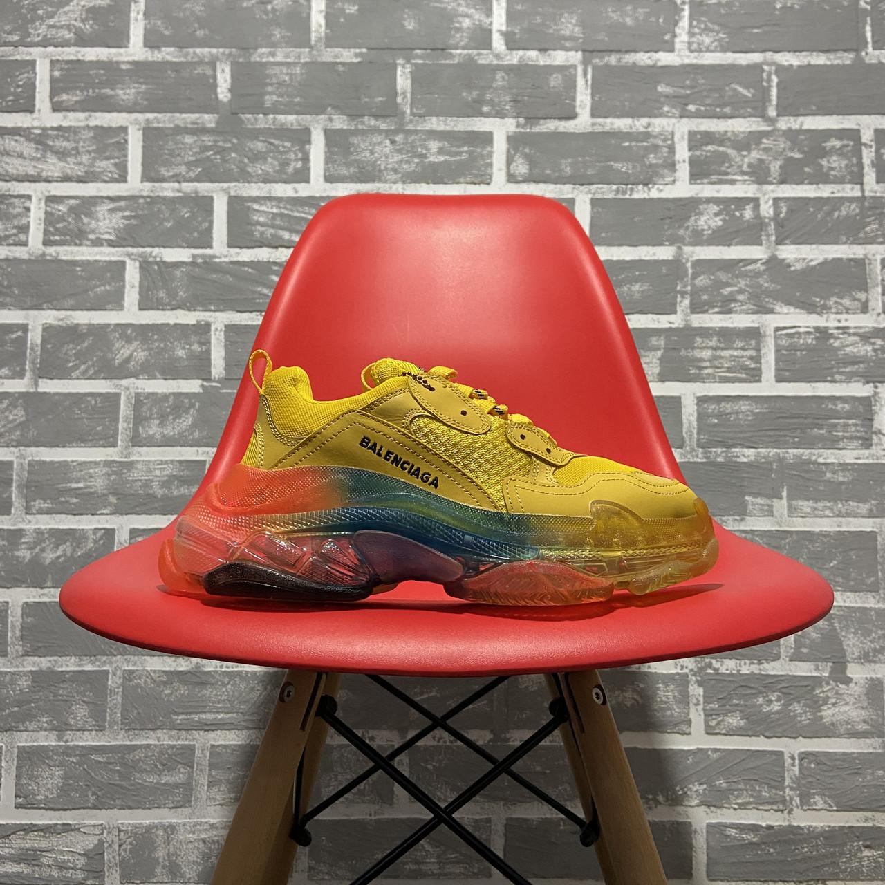 Женские кроссовки в стиле Balenciaga Triple S Clear Sole Yellow Rainbow (Кроссовки Баленсиага Трипл С)