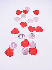 Гірлянда з сердечок 2 метри, ніжно рожева