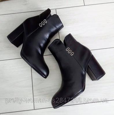 Черевики жіночі демісезонні чорні на каблуку екошкіра 40