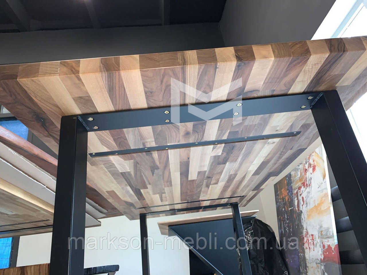 Кухонний стіл Техас в стилі ЛОФТ з масиву Горіха, М902