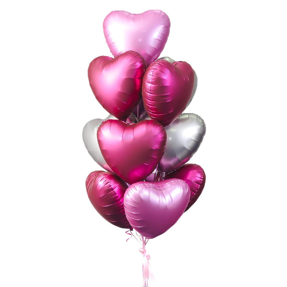 Связка из 5 розовых, 5 бургундия и 3 серебряных сатиновых сердец