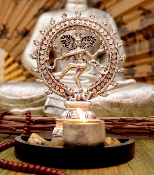 Статуэтка Шива Натарадж с подсвечником в серебряном цвете 20 см