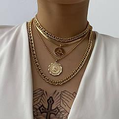 Набор цепочек из 4 шт City-A Больших и Крупных Цвет Золотой с Греческими подвесками №3051