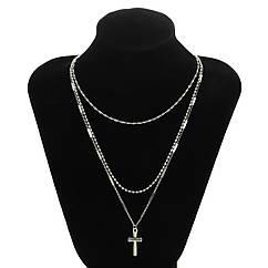 Набор цепочек из 3 шт Тонкая Цепочка на шею с Крестиком City-A Цвет Серебряная №3054