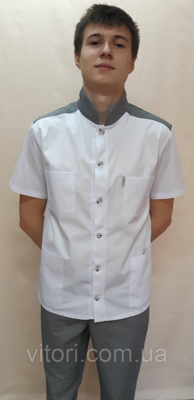 Мужской костюм рубашечная ткань на пуговицах стойка воротник