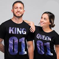 """Парные футболки с принтом """"King 01. Queen 01"""" Push IT"""