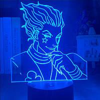 Настольный светильник-ночник Хисока Мороу Hunter X Hunter Аниме настольная 3D Лампа 16 Цветов USB (8016)
