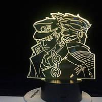 Настольный светильник-ночник ДжоДжо 2 JoJo - JoJo's Bizarre Adventure настольная 3D Лампа 16 Цветов USB (8084)