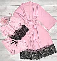 Комплект топ, шорты и халат, женский.