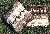 Подушка з овчини/ подушка тепла з овчини / подушка з оленями