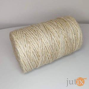 Джутовая пряжа цветная, 2 мм, 2 нити (топленое молоко) - 10 кг
