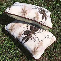 Подушка 50*70 з овчини / подушка для дачі / подушка біла з кавовим