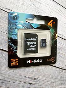 Карта памяти Micro SD 4Gb Hi-Rali Class 4 c ад.
