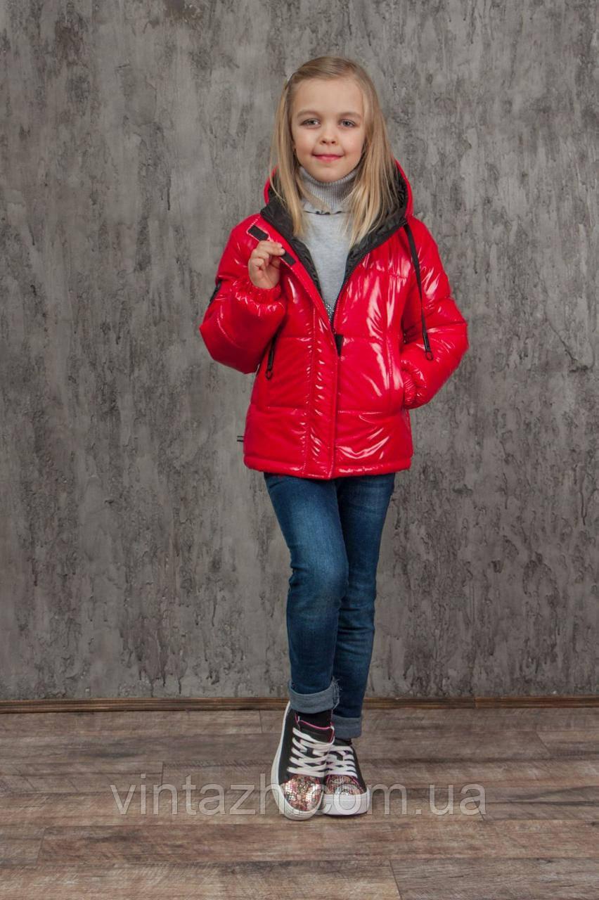 Демісезонна куртка червоного тону на маленьку модницю зростання 128-152