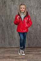 Демісезонна куртка червоного тону на маленьку модницю зростання 128-152, фото 1