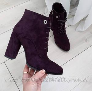 Ботинки женские демисезонные на каблуке экозамша 38