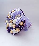 Букет из конфет Ferrero Rosher фиолетовый