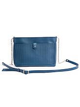 Клатч синий кожаный 6689-11