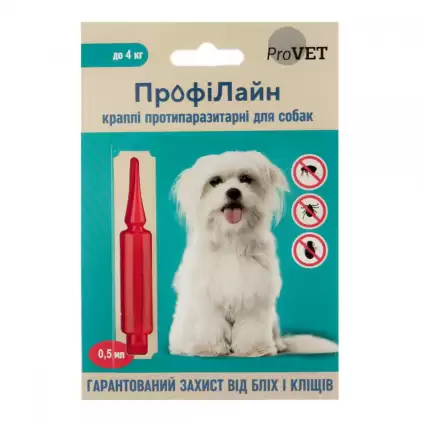 Капли от блох и клещей ПрофиЛайн Природа для собак до 4кг, 1 пипетка 0,5мл