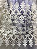 Красивая тюль на основе турецкого фатина в спальню. Цвета: Молочный, фото 3