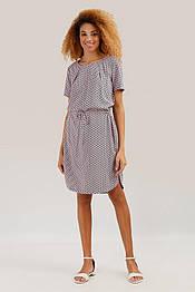 Свободное платье миди с отрезной талией из вискозы Finn Flare S19-110126-310 розовое