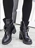 Черевики демісезонні шкіряні з пряжкою каблук, фото 2