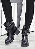 Черевики демісезонні шкіряні з пряжкою каблук, фото 3