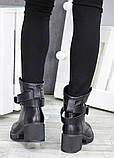 Черевики демісезонні шкіряні з пряжкою каблук, фото 5