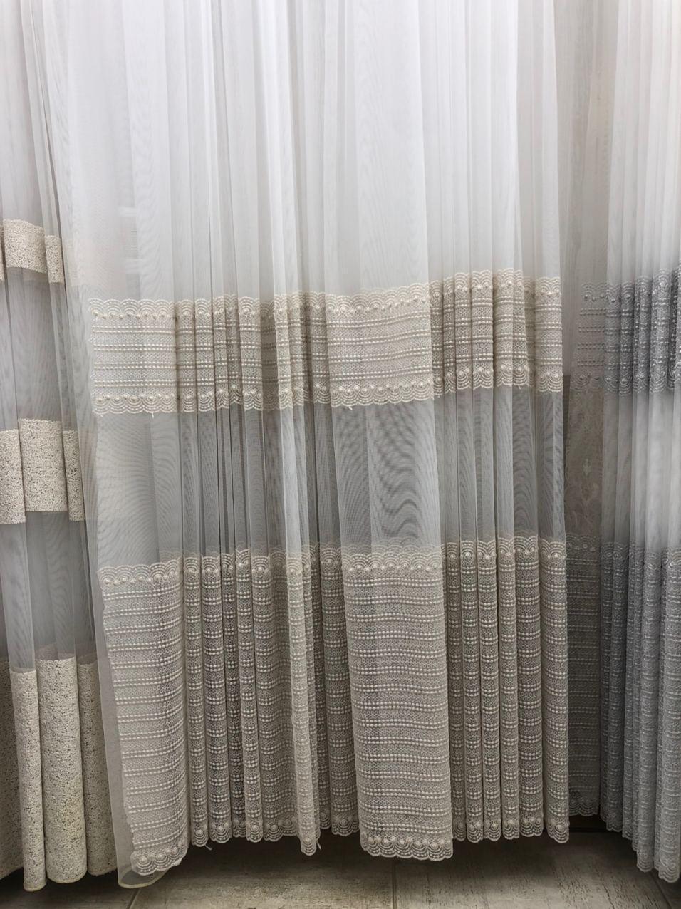 Фатиновая тюль с широким низом и плотной вышивкой Цвет: золотистый