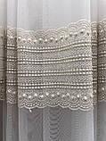 Фатиновая тюль с широким низом и плотной вышивкой Цвет: золотистый, фото 4