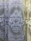 Фатиновая тюль з широким центром для спальні, залу. Колір: білий, фото 4