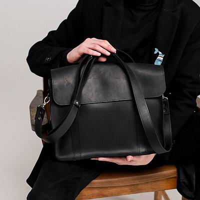 Мужская сумка из натуральной кожи черного цвета. Мужская сумка для ноутбука. Чоловіча сумка із шкіри